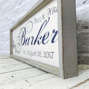 Personalized Lovebirds Name Sign with Wooden Frame