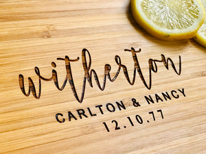 "Personalized 2-Tone Bamboo Cutting Board, Wedding Gift, Engraved Wood 18""  x 12"""