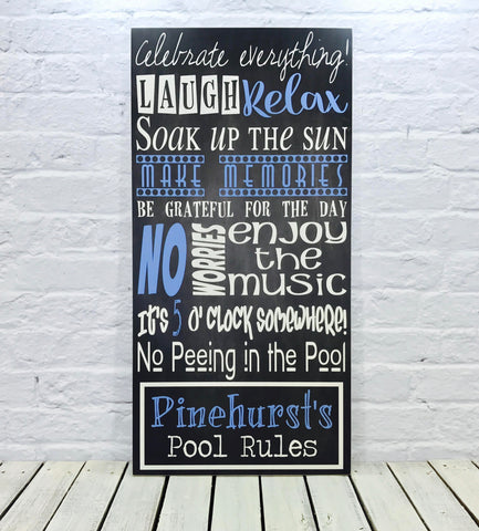 Personalized Pool Last Name Wood Sign - Pinehurst's Pool Rules