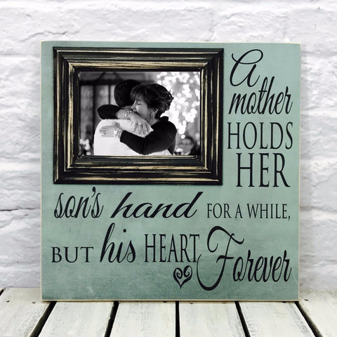A Mother Holds Her Sons Hand 16 x 16 Wood Picture Frame- Textured #11