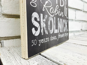 50 Year Anniversary Personalized Sign on Tin