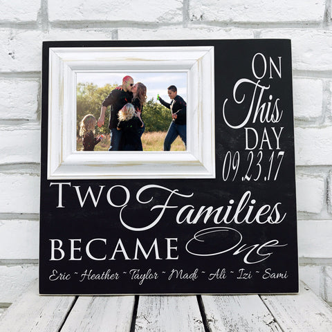 On This Day Two Families Become One 16 x 16 Wood Picture Frame-Black and White