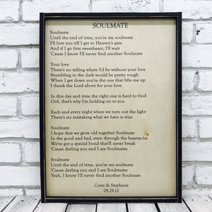 wedding song lyric wood sign with rustic frame