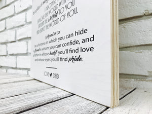 Wedding Song Lyric Sign on Tin or Wood
