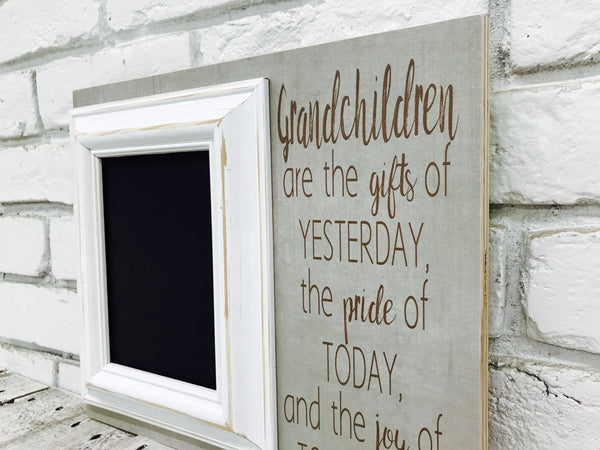 """Grandchildren Are the Gifts of Yesterday"" 12"" x 14"" Wooden Picture Frame"