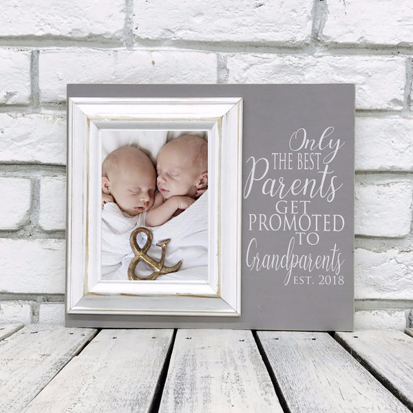 Only the Best Parents...Promoted to Grandparents 12 x 14 Picture Frame Gift- Wood