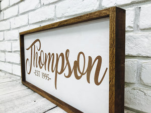 Personalized Family Name Wooden Framed Sign