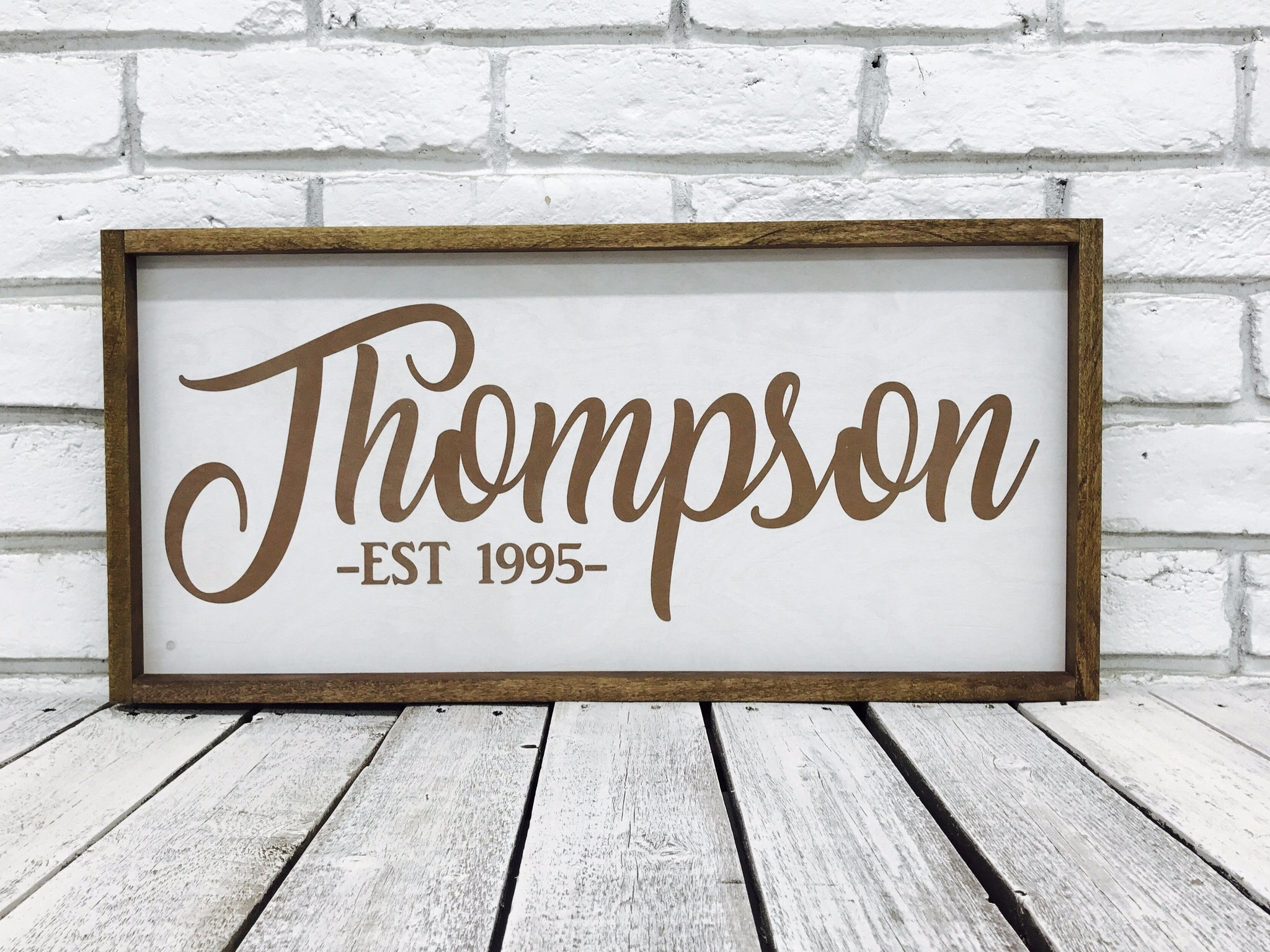 Personalized Family Name Wooden Framed Sign - Madi Kay Designs