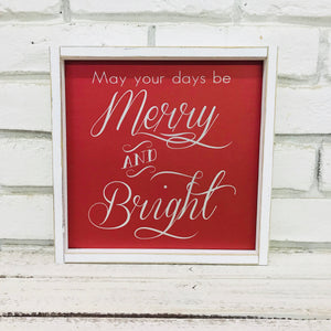 """Merry and Bright"" Red and Silver Tin Christmas Decor"