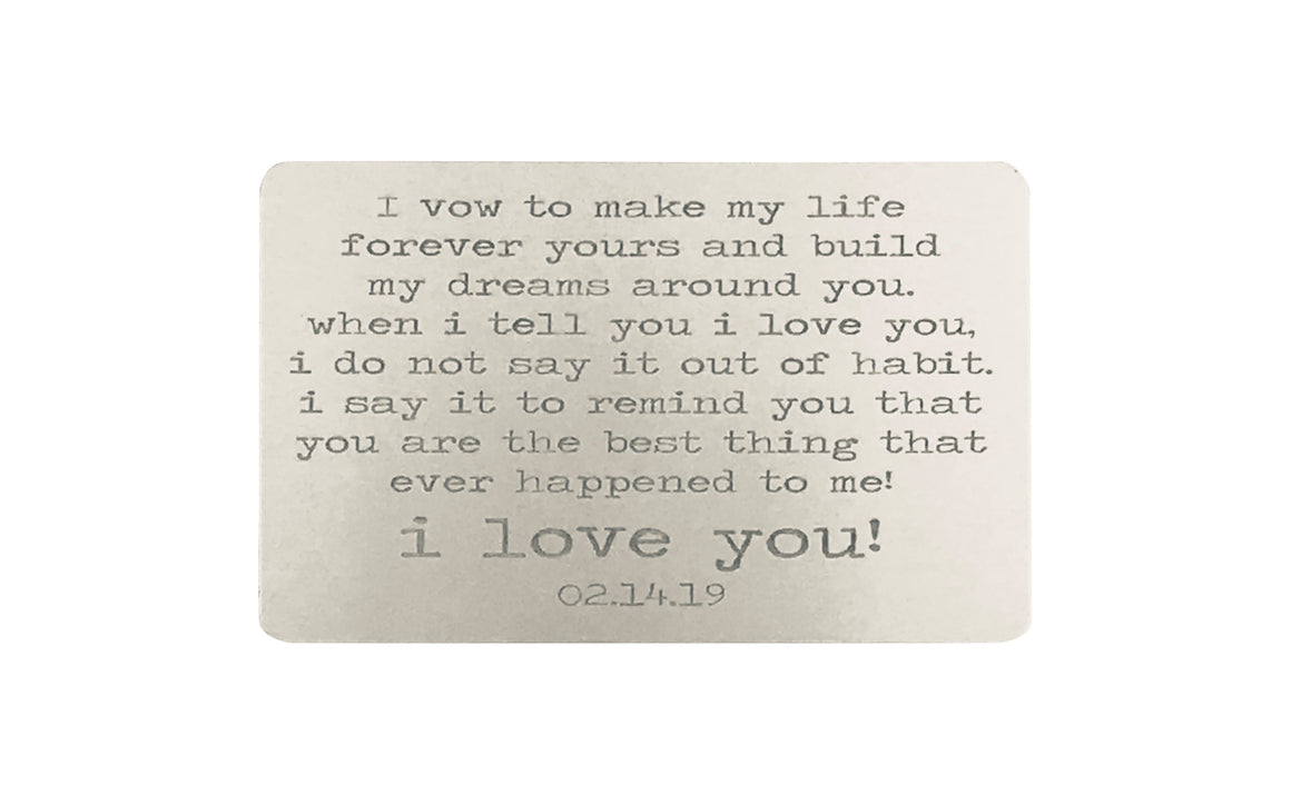 Personalized Wedding Vows Wallet Card
