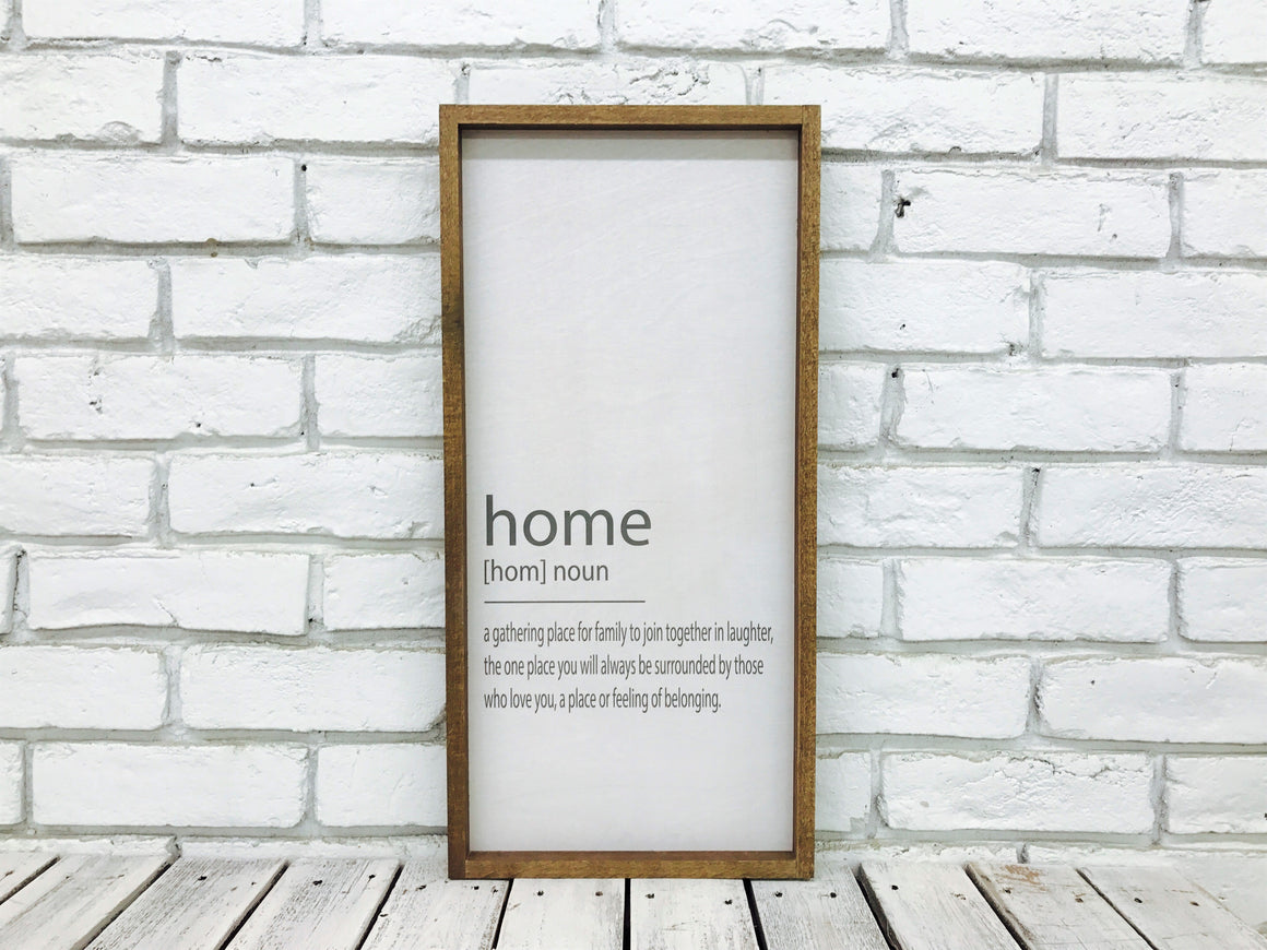 """Home [Home] Noun..."" Wooden Farmhouse Home Decor Sign"