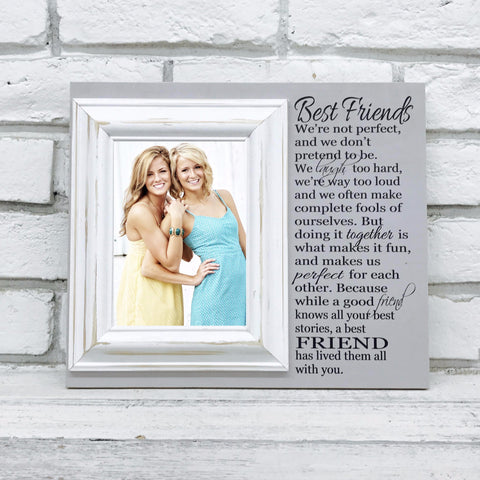Best Friends We're Not Perfect Wedding Gift 12 x 14 Picture Frame Gift- Grey and White