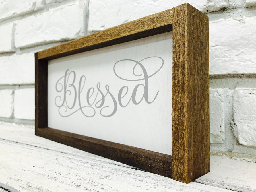 """Blessed"" Wooden Farmhouse Home Decor Sign"