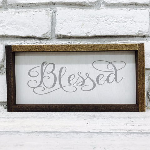 Blessed Farmhouse Home Decor Sign - Wood