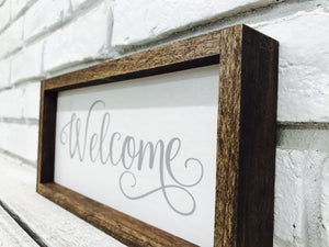 """Welcome"" Wooden Farmhouse Home Decor Sign"