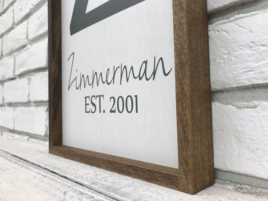 Personalized Family Last Name and Established Date Wooden Sign