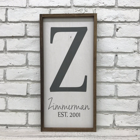 Personalized Family Last Name Established Sign - Zimmerman Design- Wood