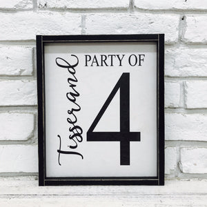 Personalized Family Last Name and Party of 4 Wooden Sign