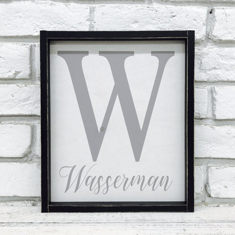 Personalized Family Last Name and Initial Sign - Wasserman Design- Wood