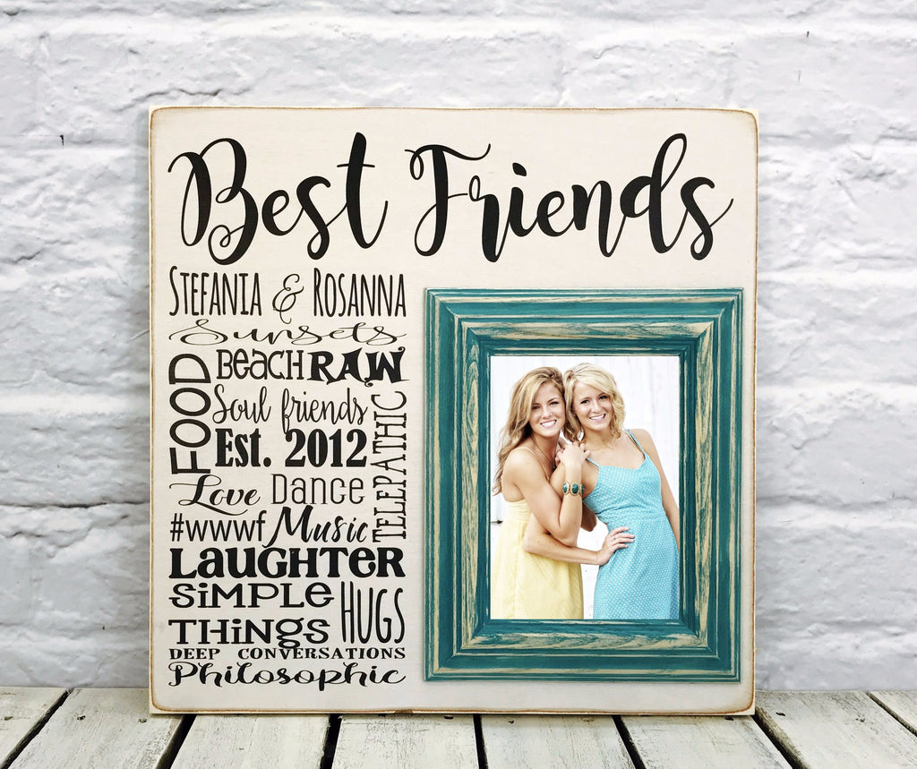 Best friends wedding gift 16 x 16 picture frame wood madi kay best friends wedding thank you gift wood sign picture frame jeuxipadfo Gallery