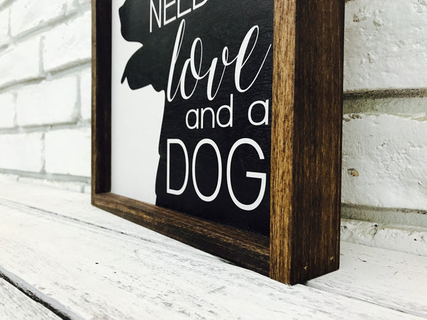 Love and a Dog Wood Sign