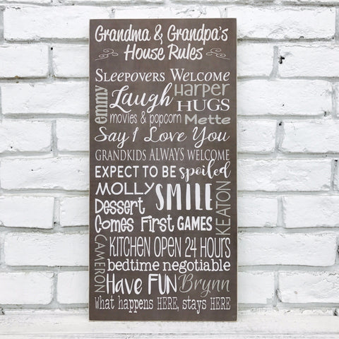 Grandma and Grandpa's House Rules-Wood