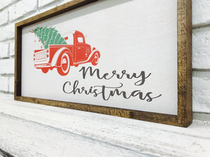 """Merry Christmas"" Wooden Sign of Red Truck"