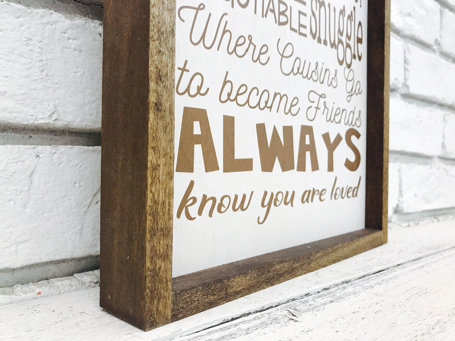 """Grandma and Grandpa's House Rules"" Wooden Sign"