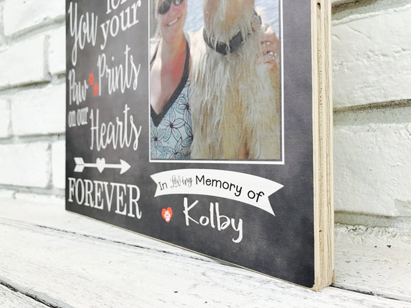Paw Print Pet Memorial - Kolby Dog - Wood