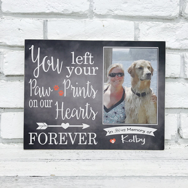 Paw Print Pet Memorial Photo Printed to wood