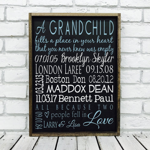 Grandchildren Names and Birth Date Sign-Wood