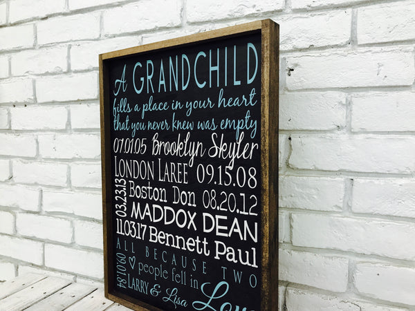 Grandchildren Names and Birth Date Sign Blue-Wood