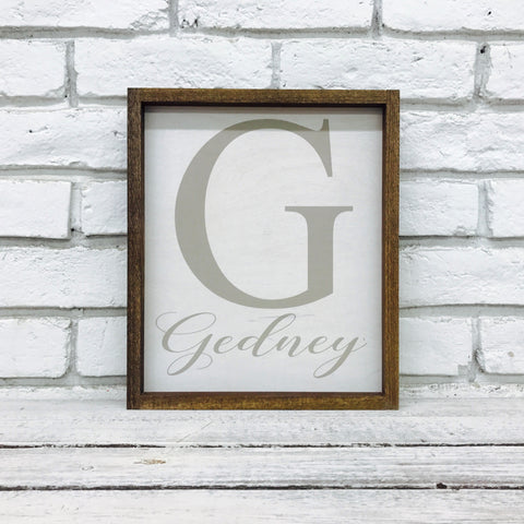 Personalized Family Last Name and Initial Sign - Gedney Design- Wood