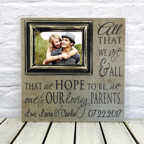 All That We Are We Owe To Our Parents 16 x 16 Wood Picture Frame-Textured #6 and Black