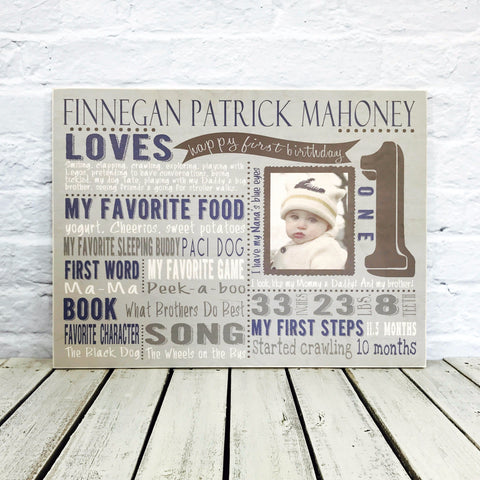 Personalized First Birthday Sign with Photo - Wood