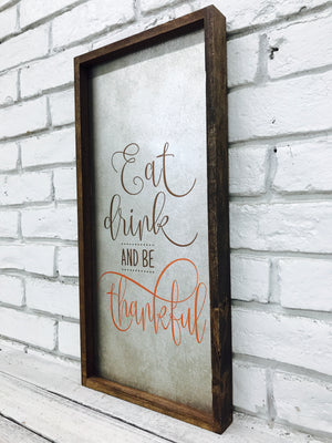 Eat Drink Be Thankful Tin