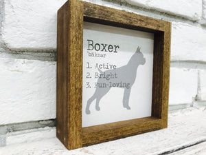 Boxer Dog Wooden Sign