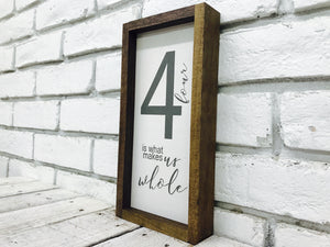 Farmhouse Wall Decor, Family of 4 Home Sign, Rustic Wooden Frame Decoration