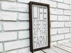 Life is Better at the Farm Grey Rectangle Wood