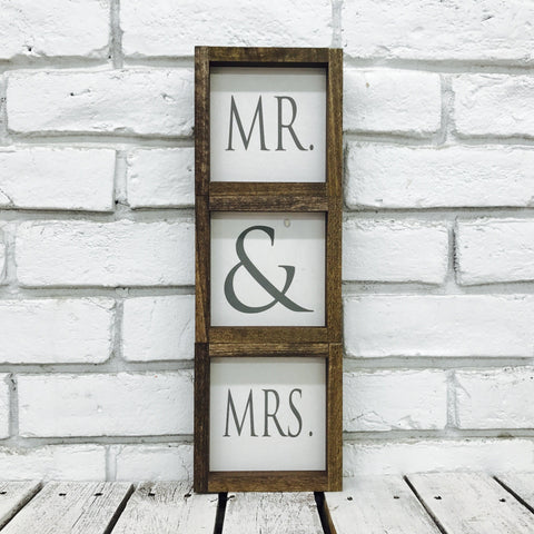 Mr and Mrs sweetheart table top signs for wedding display
