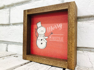 Wooden Snowman Sign with Red Background