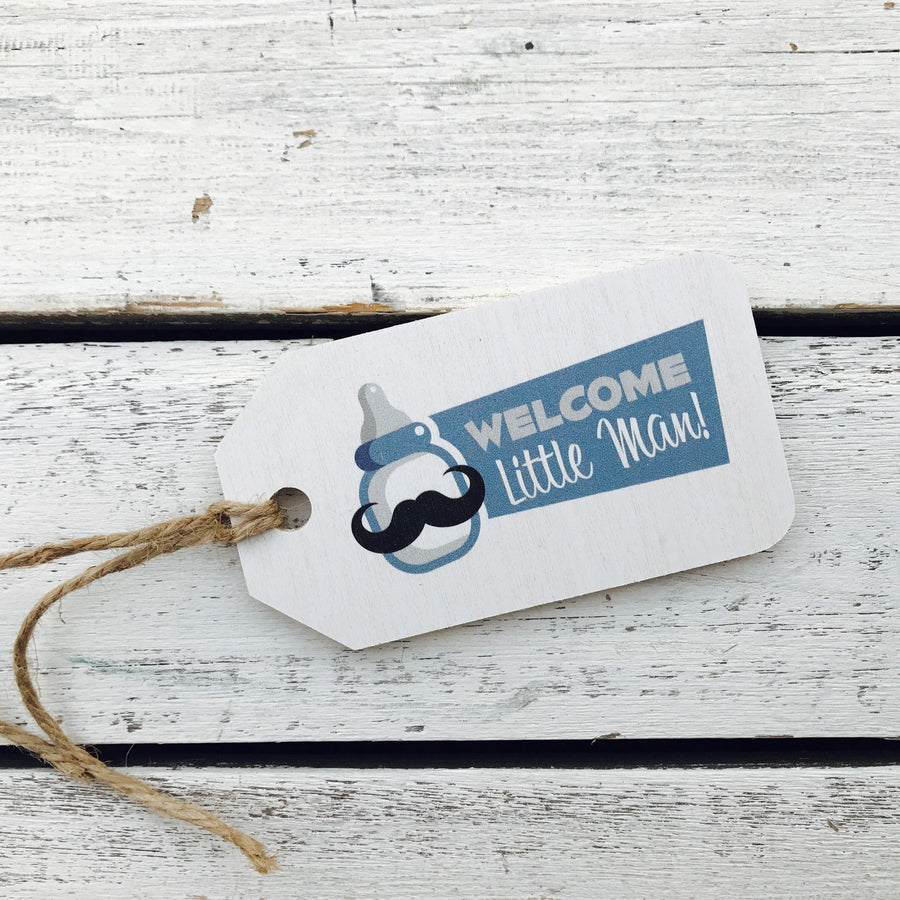 """Welcome Little Man"" Gift Tag"