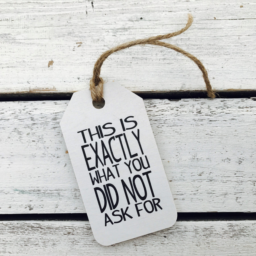 """This Is Exactly What You Did Not Ask For"" Gift Tag"