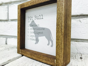 Pit Bull Dog Wooden Sign
