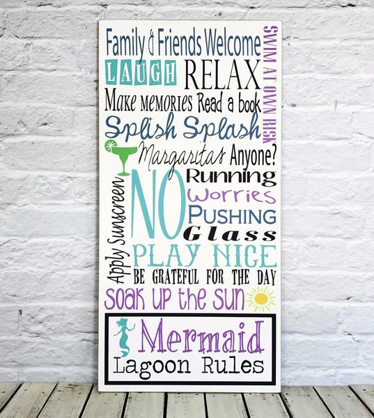 Personalized Pool Rules Last Name MDO Mermaid Lagoon Sign