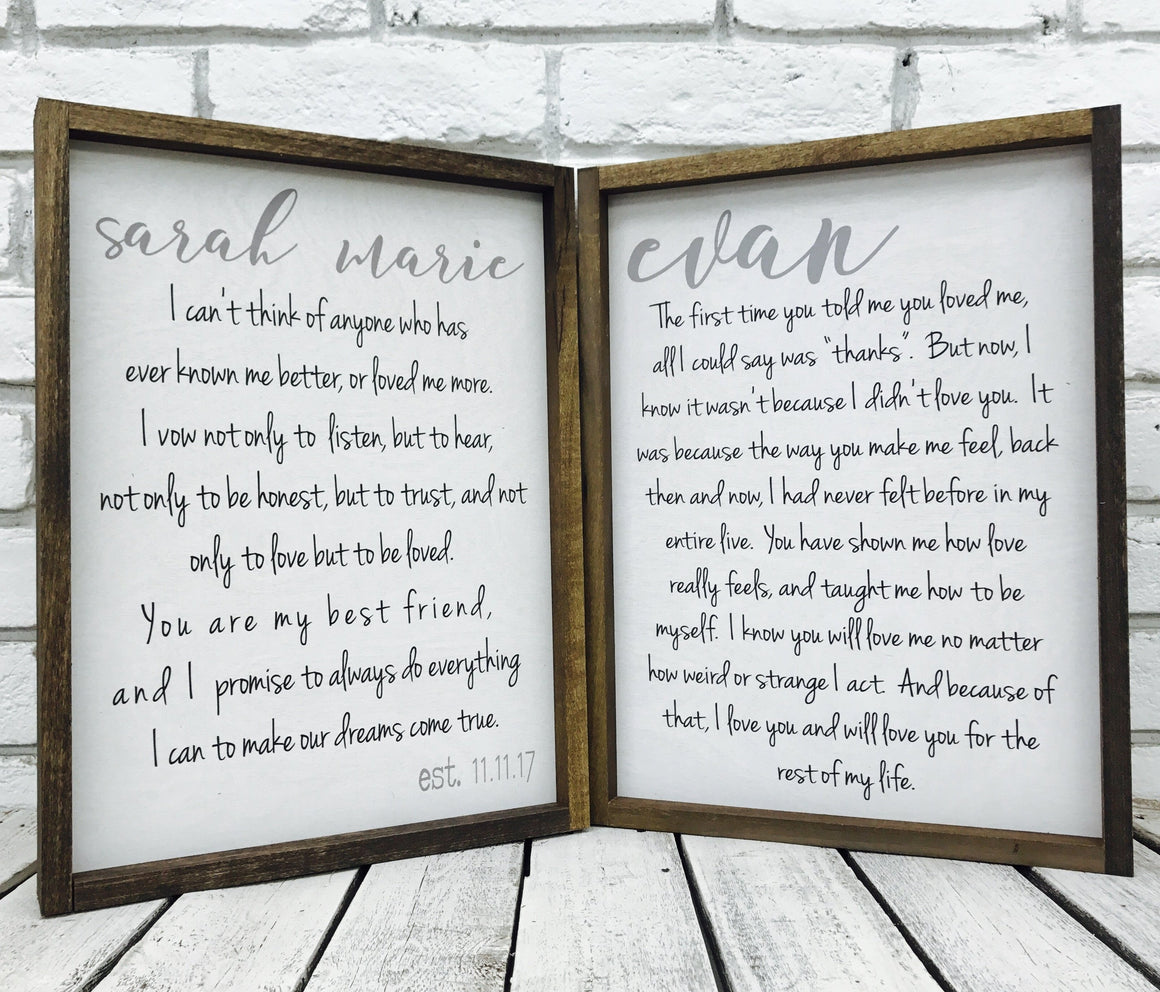Wedding Vows Distressed Wood Frame