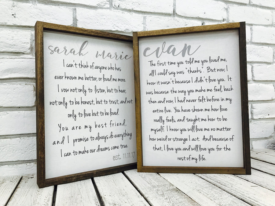 wedding photography and vows printed to wood and tin