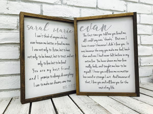 Wedding Vow Wooden Sign | Set of 2