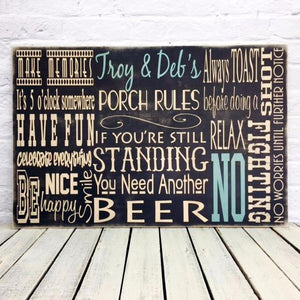 Personalized Porch Rules Last Name MDO Sign