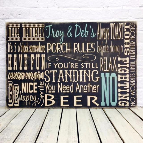 Personalized Porch Rules Last Name Wood Sign - Troy and Debs
